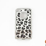 Накладка 4/4S (леопард черный в серебре со стразами) 70417 фото