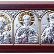 Иконы автомобильные Трех Святых греческие с серебром и позолотой в Украине. Код товара: ОEK1XBG фото