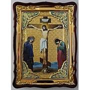 Икона Голгофа, в фигурном киоте, с багетом большая Храмовая 82х114 фото