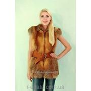 Женская меховая жилетка из натуральной Лисы на молнии фото