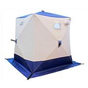 Палатка зимняя куб Следопыт 3-местная, бело-синяя фото