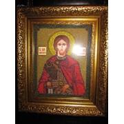 Именная икона Святого Никиты ручной работы вышитая бисером фото