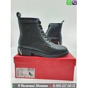 Ботинки Valentino Валентино черные на шнуровке фото
