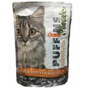 Puffins Picnic 85г пауч Влажный корм для взрослых кошек Мясное ассорти (соус) фото