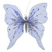 Декор Бабочка из органзы 20x20см синяя фото