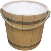 Ведро для бани и сауны деревянное с пластиковым вкладышем на 22 литров фото