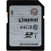 Карта памяти SDXC 64GB Class 10 Kingston UHS-1 (SD10VG2/64GB), код 128966 фото