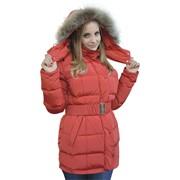 Женское пуховое пальто с меховой опушкой София фото