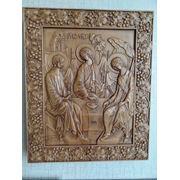 Икона резная-Святая Троица фото