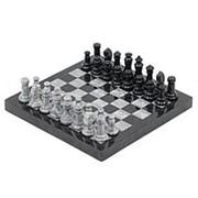 Шахматы из мрамора и змеевика 32х32 см фото