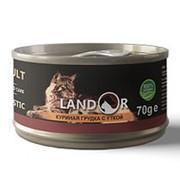 Landor 70г конс. Дополнительное питание для взрослых кошек Куриная грудка и утка фото