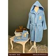 Детский халат La Villa TAVSAN хлопковая махра синий 6 лет фото