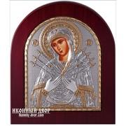 Семистрельная икона Божьей матери в деревянной арочной рамке, инкрустирована кристаллами Сваровски (Swarovski) Код товара: ОGOLD фото