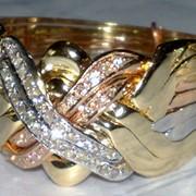 Кольцо с тремя видами золота и Бриллиантами от WickerRing фото