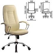 "Кресло для руководителя Metta ""BK-2CH"", перфорированная кожа, хром, бежевое фото"