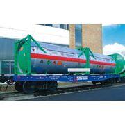 Вагон-платформа, специализированный для перевозки крупнотоннажных контейнеров Flat-Car purposed for Transportation of Large-Capacity Containers фото