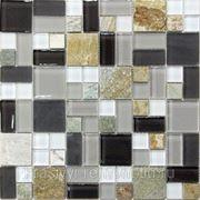 Стеклянная мозаика с камнем Style time-23 300*300*8 фото