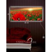 Картина c подсветкой 29х69 Маковое поле фото