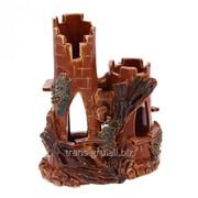 Аквадекор-грот для аквариума Башни с деревом коричневый 8х14х18 см фото