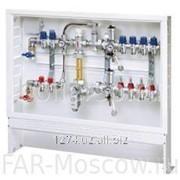 Сборный регулирующий узел для напольного и радиаторного отопления, 9 отводов на теплый пол + 2 отвода на радиатор, с сервоприводом, в коллекторном шкафу, Евроконус, артикул FK 3591 1340903 фото
