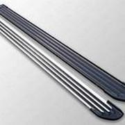 Пороги Audi Q5 2008-2017 (алюм. Slim Line Black 1820 мм) фото