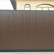 Откатные автоматические ворота коричневые фото