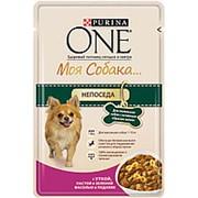 One Моя Собака Непоседа 100г пауч Влажный корм для взрослых собак Утка, паста и фасоль фото