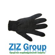 Перчатки х/б вязанные черные двойные фото