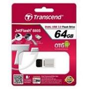 Накопитель USB 3.0 Transcend JetFlash OTG 880 64GB Metal Silver (TS64GJF880S) фото