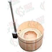 Фурако из кедра, с подогревом воды, наружная дровяная печь диаметр 150 см. фото