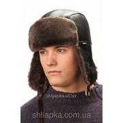 Мужская шапка-ушанка коричневая 33/35-1 фото