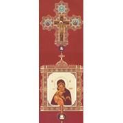 Крест-икона № 9 выпиловка гравировка филигранное золочение камни эмаль фото