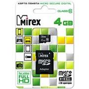 Карта памяти микро SDHC 4 Гб класс 10 - Mirex - с адаптером SD фото