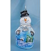 Свеча Снеговик сказочный д=60 фото