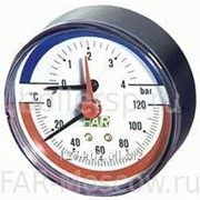 "Термоманометр 0-10 бар, 0-120°C, D=80 мм, торцевое соединение 1/2"", артикул FA 2550 P10 12 фото"