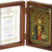 Настольная икона Святой князь Владислав Сербский на мореном дубе фото