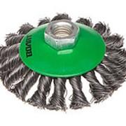 Щетка дисковая косич.100мм/M14 ВОЛАТ (для УШМ шлифмашины болгарки М14 тарелка торцевая крацовка) фото