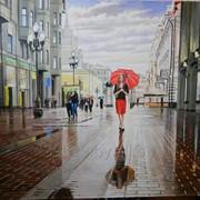 Картина живописная Девушка под дождём фото
