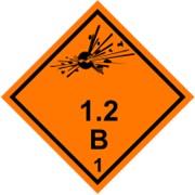 Знак Класс опасности 1: Подкласс 1.2, Группы совместимости: B, C, D, E, F, G, J, K, L, Наклейка / табличка фото