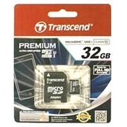 Карта памяти микро SDHC 32 Гб класс 10 - Transcend - Premium - UHS-I, 60 Мб-с, с адаптером SD фото