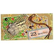 """Конверт для денег Стильная открытка """"23 февраля!"""", ручная работа, 5КР-653 фото"""