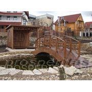Мостик деревянный на метало основе, мостик декоративный, мостики, мостик из дерева фото