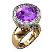 Кольцо с бриллиантами и аметистом артикул: 2Б6020 фото