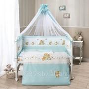 Комплект в кроватку детского постельного белья Лето голубое, 7 предметов Перина фото