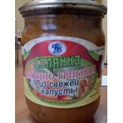 Солянка овощно-грибная из свежей капусты фото