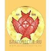 Храм Покрова Богородицы Херувим, икона на сусальном золоте (гладкий МДФ 6 мм без ковчега) Высота иконы 10 см фото