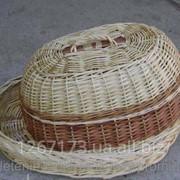 Плетеная хлебница из лозыОвальная белая фото
