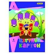 Картон цветной Silwerhof одност. 8цв./8л. A4 Бабочка и друзья 230г/м2 1 дизайн, обложка мелованый картон фото