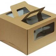 Коробка для торта от 1 до 3 кг c ручками и прозрачными окошками Размер 300*300*190 мм. Бур. фото