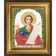 Икона ручной работы Святой Роман вышитая бисером фото